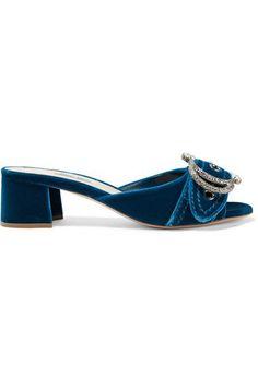 Miu Miu - Embellished Velvet Mules - Cobalt blue
