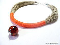 Collier Lin Naturel Collier Plastron Lin par LaFabriqueDeLoulette