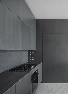 Black kitchen: Charcoal Kitchen, Modern Kitchen D Grey Kitchen Cabinets, Kitchen Cabinet Design, Modern Kitchen Design, Interior Design Kitchen, Black Kitchens, Home Kitchens, Minimalist Kitchen Counters, Minimal Kitchen, Minimalistic Kitchen
