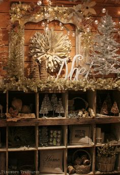 """Display in our """"Christmas At The French Farm Room"""" full of shabby white and sparkly holiday finds Timeworn Treasures Christmas Booth, Noel Christmas, Primitive Christmas, Country Christmas, All Things Christmas, White Christmas, Vintage Christmas, Christmas Crafts, Christmas Store Displays"""