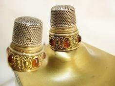 Antique jeweled thimble FULLY hallmarked with egyptian symbols gold and silver jeweled wedding band. $125.00, via Etsy.