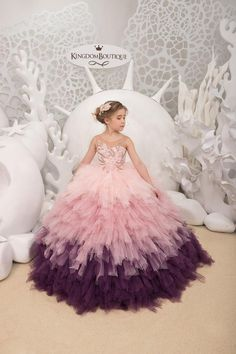 Blush pink and Purple Flower Girl Dress - Birthday Wedding party Bridesmaid Holiday Blush pink and P Pagent Dresses For Kids, Girls Pageant Dresses, Gowns For Girls, Dresses Kids Girl, Short Dresses, Yellow Flower Girl Dresses, Pink And Purple Flowers, Exotic Flowers, Yellow Roses