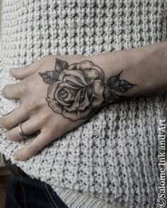 Blackwork Rose on Hand by Salome Trujillo