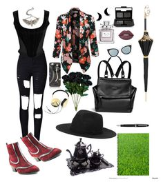 """""""Scarlet Fields"""" by nudespoonseuphoria on Polyvore featuring WithChic, LE3NO, Givenchy, Fendi, Vivienne Westwood, The Wildness Jewellery, Lime Crime, NARS Cosmetics, Christian Dior and Monki"""