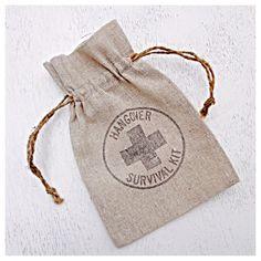 Wedding Emergency Hangover Kit Favor Welcome Bag Canvas Linen Fabric 5x7 Drawstring Bag Set of 100 Pick Your Ink Color