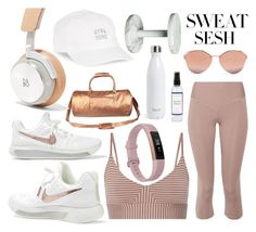 """""""Gym & Tonic"""" by chloeya ❤ liked on Polyvore featuring OLYMPIA Activewear, NIKE, Fitbit, Body Rags, Mahi, S'well, The Laundress, Prada and sweatsesh"""