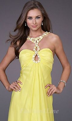 prom dress - pretty neckline, not in yellow though!