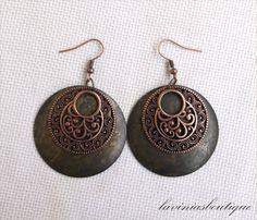 Mixed Metal Earrings/ Brass Dangle earrings/ by laviniasboutique, €15.00