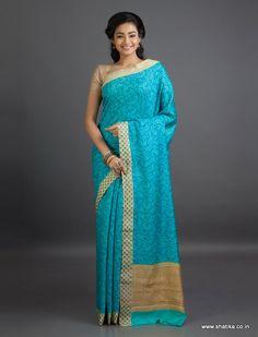 Kavita Ice Blue Leaves Mysore #GeorgetteSilkSaree