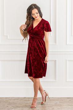 d7f90778f01 Vera Modest Bridesmaid Dress or Christmas Dress (Nursing Dress) in Red  Crushed Velvet