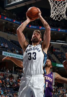 February 5, 2013 - Memphis Grizzlies center Marc Gasol, of Spain, (33) attempts a shot defended by Phoenix Suns Markieff Barris (11) at the FedExForum Tuesday evening. (Nikki Boertman/The Commercial Appeal)