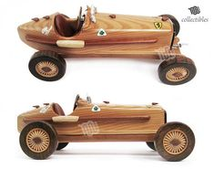 Wooden replica of a classic racing car: Alfa Romeo P3 of 1932s. Alfa Romeo P3 was a classic Grand Prix car designed by Vittorio Jano, one of the Alfa Romeo 8C models. The P3 was first genuine single-seat Grand Prix racing car and Alfa Romeos second monoposto after Tipo A monoposto