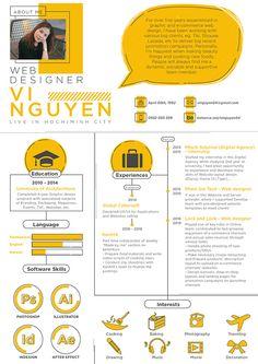 My CV - CV Design - My CV Vi Nguyen's creative curriculum vitae Resume Skills List, Cv Skills, Resume Design Template, Cv Template, Resume Templates, Cv Web, Cv Original, Portfolio Resume, Portfolio Design Books