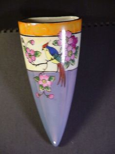 Vintage Hand Painted Wall Pocket, Bird and Flowers, Made in Japan 7 inches Long