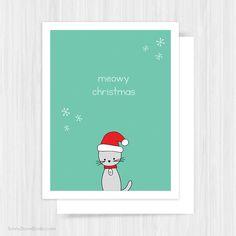 Cute Santa Cat Pun Christmas Card by SunnyDoveStudio #cards #greetingcards #cute #kawaii #cat #christmas #etsy #handmade
