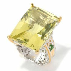 Gems en Vogue II 28.15ctw Ouro Verde & Chrome Diopside Hammered Ring - 132-599  Retail Value: $416.50 ShopHQ Price: $325.00 Tucson Price: $268.42    Save: $56.58 (17% off) or  6 ValuePay:  $44.74 Shipping & Handling: $7.99