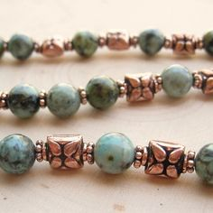 African Turquoise Gemstone Antiqued Copper Bali Style Bead Necklace | SolanaKaiDesigns - Jewelry on ArtFire