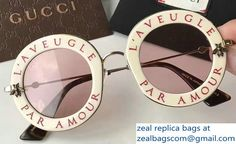 0808f1f0c3c Gucci L  Aveugle Par Amour Round Frame Metal Bee Detail Sunglasses 470459  White2017 Ronde