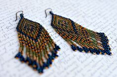 Seed Bead Earrings, Beaded Earrings, Fringe Earrings, Seed Bead Jewelry, Native American Beaded Earrings, Long Earrings, Gold Earrings by AmorphiaDesigns on Etsy https://www.etsy.com/listing/235616690/seed-bead-earrings-beaded-earrings