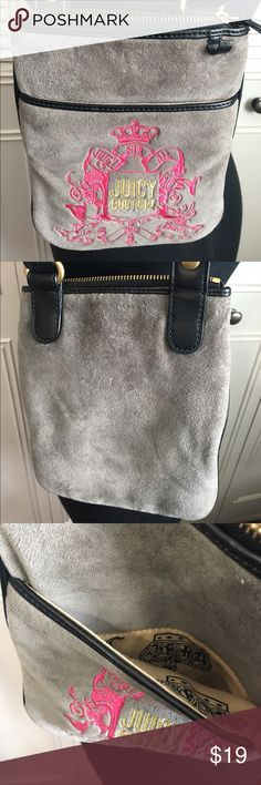 Juicy Couture Bag Cute JC cross body bag with zip closure and inside zip inside pocket and outside open pocket. This bag is like new but the brand emblem has been removed and the leather loop was ripped-can be sewn back and fixed. Juicy Couture Bags Crossbody Bags