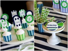 navy + green pool party: beach cookies by Sugar on Top  {styling and printables by TomKat Studio}