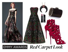 """Red Carpet Look"" by sherrykaydesigns ❤ liked on Polyvore featuring Elie Saab, Giuseppe Zanotti, Bare Escentuals, Jimmy Choo, RedCarpet, floraldress and emmyredcarpet"