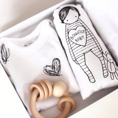 Black and White Baby Gift Set with lots of heart! at Bonjour Baby Baskets - Luxury Baby Gifts