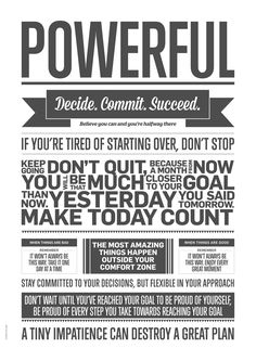 Poster Powerful  Perfect for the office, to give you motivation when you meet difficulties... Or why not, in the kitchen... when you've got no idea what to make for dinner ;-)