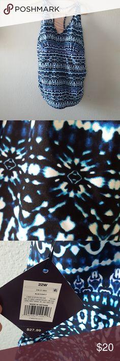 NWT Ava & Viv Swim Top Plus Size 22W NWT Blue Tones Print with Black Ava & Viv Swim