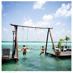 Swings on pinterest tire swings hanging beds and secret for Swing over water