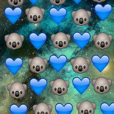 Emoji Background koala y corazon azul