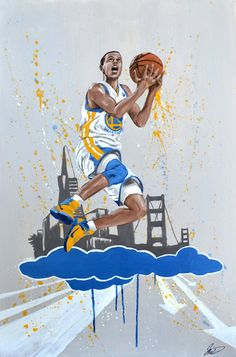 Original sports painting on 24x36 canvas by jonathan price, Golden State Warriors Basketball player, Steph Curry