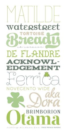 A Tiny Bit of Green Typography {Free Fonts} on http://frogprincepaperie.com ~~ {12 free fonts w/ links}