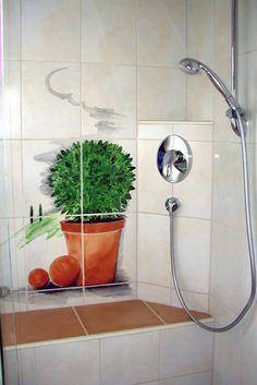 Bemalung in der Dusche. nicht viel aber wirkungsvoll.