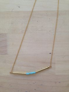 Short Gold Bar Necklace by GenuineandGinger on Etsy