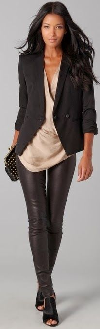 Adorable professional fashion style with black blazer