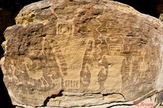 Native Folklore and the Star People - Nine Mile Canyon, Utah  This area has some really unusual petroglyphs all carved on the side of a cliff that's 100 feet in the air!