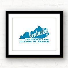 Kentucky wall art  Kentucky print  Kentucky by PaperFinchDesign