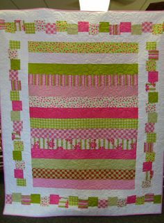 """""""Quite Contrary"""" Quilt Kit in Bright Pinks & Greens kitted for a shop hop in Iowa! Woo hoo!"""
