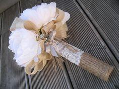 SILK Cream Peony bouquet with broach detail. by Keepsakebouquets Peonies Bouquet, Peony, Bouquets, Flax Flowers, Wedding Flowers, Silk, Cream, Detail, Unique Jewelry