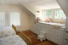 Cape Cod Interior: Elevated window seat and stepping stool