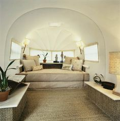 """This is a inside of a Airstream! I think I could really get into this """"camping thing""""."""