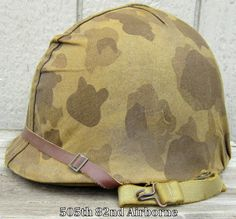WWII USMC M1 Helmet & Repro Hawley Liner Front Seam Schlueter Fixed Bale Cover