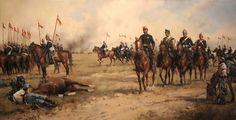 Castillejos. Obra de Augusto Ferrer-Dalmau. Representa La Batalla de Castillejos. Guerra de África. Año 1860. Es portada del libro ¨Estampas...