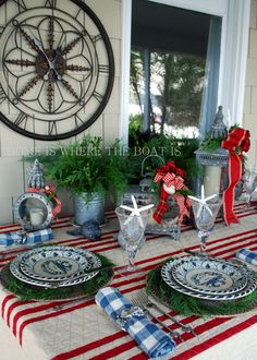 Although we're lakeside, I set a table to celebrate A Coastal Christmas for my Blue Crab Bay Stoneware Giveaway! For a table covering, a quilted coverlet with nautical stripes provides the quintess.