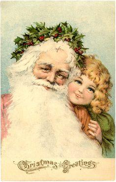 Victorian Santa Postcard vintage freebie Christmas printable