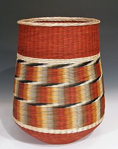 """Red Steps"" by Kari Lønning -  15.75"" x 12.5"" in artist-dyed rattan reed."