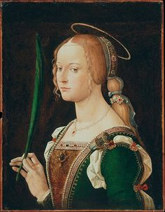 Saint Justina of Padua, Bartolomeo Montagna, 1490s: her attributes are her halo symbolises sanctity; the palm branch, martyrdom; and the sword in her breast, the method of her martyrdom. (Metropolitan Museum)
