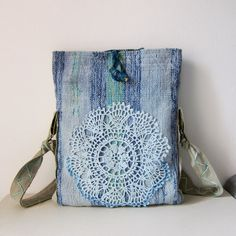 Crossbody Messenger Bag, Hand Dyed Bag and lace doily Tribal Messenger 15 inch Laptop, Vintage Woven , Leather, OOAK Ready to ship