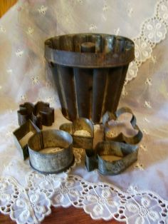 Primitive Antique 1800's Tin Pudding Mold and cookie cutters